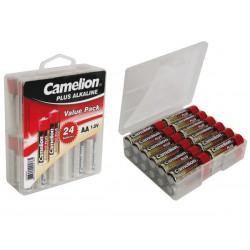 Pile AA 1.5V Alcaline Camelion par 24 avec boîte de rangement