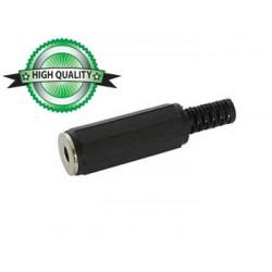 Connecteur jack 3.5mm mono femelle plastique noir à souder