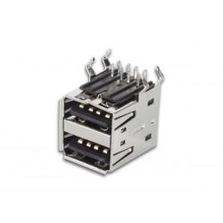 Double connecteur USB A femelle coudé pour CI