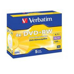 Pack de 5 DVD+RW 4.7 GB Verbatim