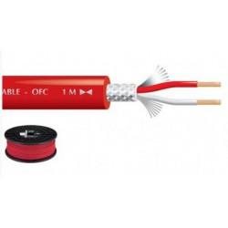 Câble blindé 2 x 0.22mm² audio, rouge