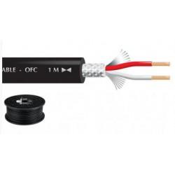 Câble blindé 2 x 0.22mm² audio, noir