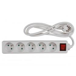 Multiprise secteur, 5 prises avec interrupteur 1.5m