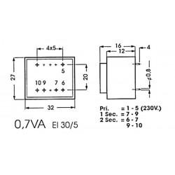 Transformateur moulé 0.7VA