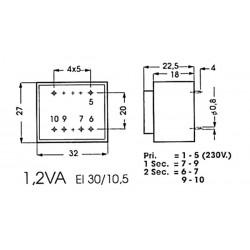 Transformateur moulé 1.2VA