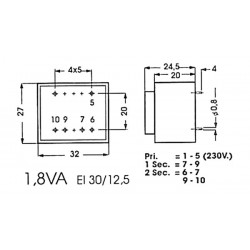 Transformateur moulé 1.8VA