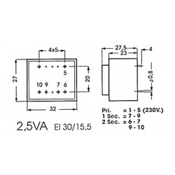 Transformateur moulé 2.5VA
