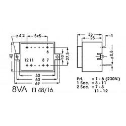 Transformateur moulé 8VA
