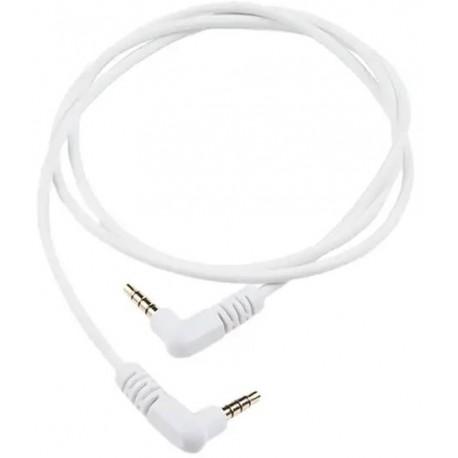 Cordon audio jack stéréo 3.5mm mâle coudé 0.9m blanc