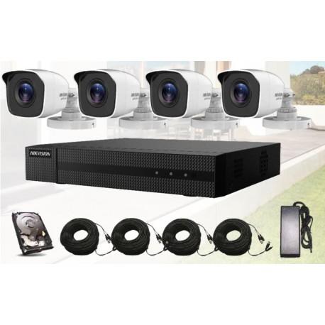 Pack vidéosurveillance avec 4 caméras, enregistreur IP, connectique