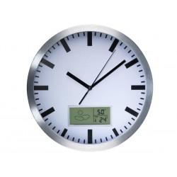 Horloge murale 25 cm avec thermomètre, hygromètre, météo