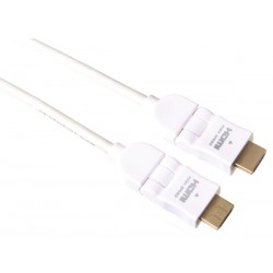 Cordon HDMI articulé coudé 0.75m mâle blanc