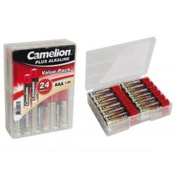 Pile AAA 1.5V Alcaline Camelion par 24 avec boîte de rangement