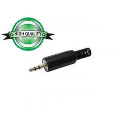 Connecteur jack 2.5mm stéréo plastique noir à souder