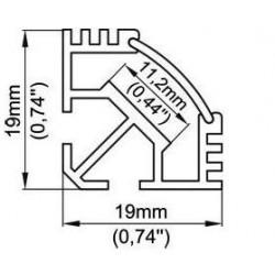 Profilé angle 45° en aluminium pour led