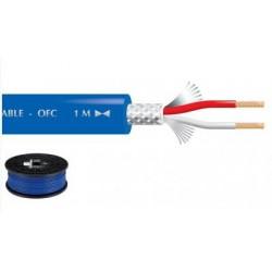 Câble blindé 2 x 0.22mm² audio, bleu