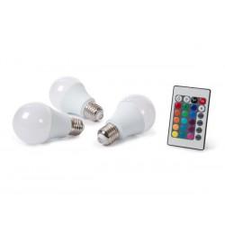 Jeu de 3 ampoules LED RVBW 7.5W à vis gros culot