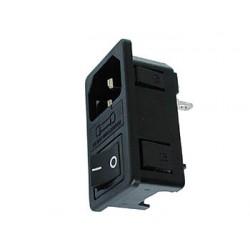 Embase mâle 10A IEC14 avec interrupteur et porte fusible