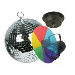 Kit boule à facettes avec moteur, projecteur PAR36, disque de couleurs